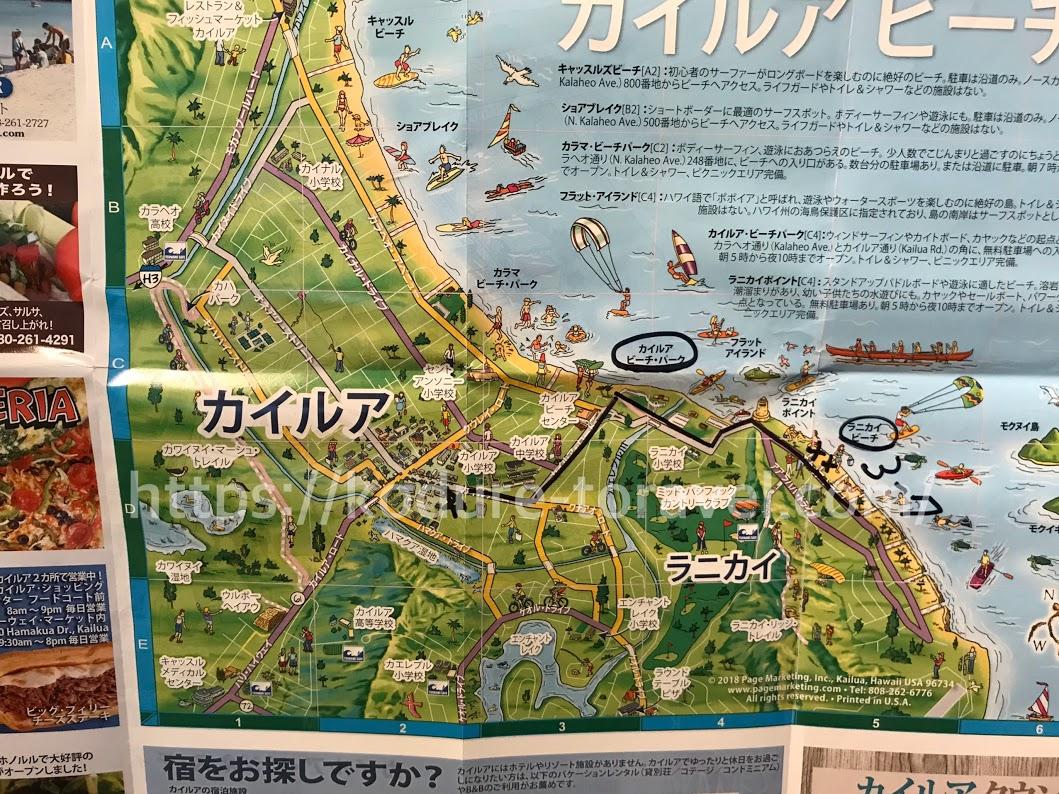 ラニカイビーチまでの地図